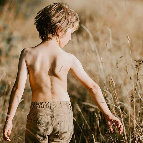 Photo d'un petit garçon de dos, torse nu dans un champ de blé.